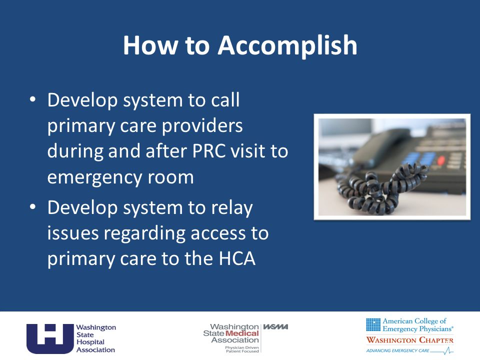 How to Accomplish Develop system to call primary care providers during and after PRC visit to emergency room Develop system to relay issues regarding access to primary care to the HCA 28