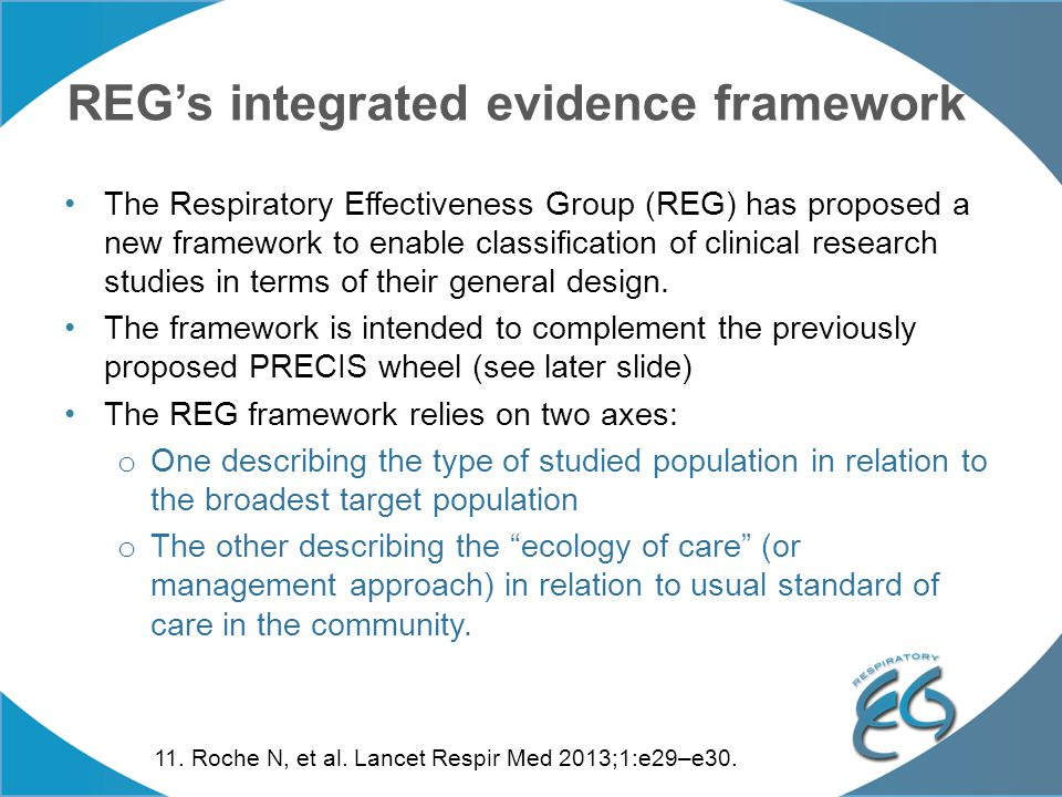REG's integrated evidence framework The Respiratory Effectiveness Group (REG) has proposed a new framework to enable classification of clinical resear