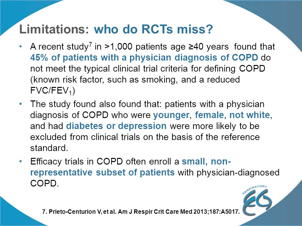 Limitations: who do RCTs miss? A recent study 7 in >1,000 patients age ≥40 years found that 45% of patients with a physician diagnosis of COPD do not