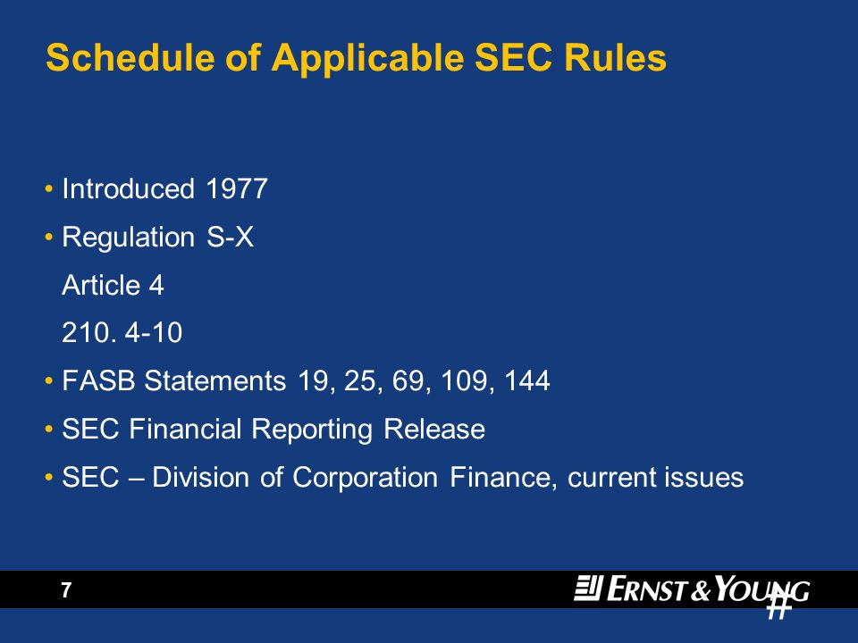 # 6 Standard setters have attempted to bring consistency to oil and gas company accounts, started by the SEC