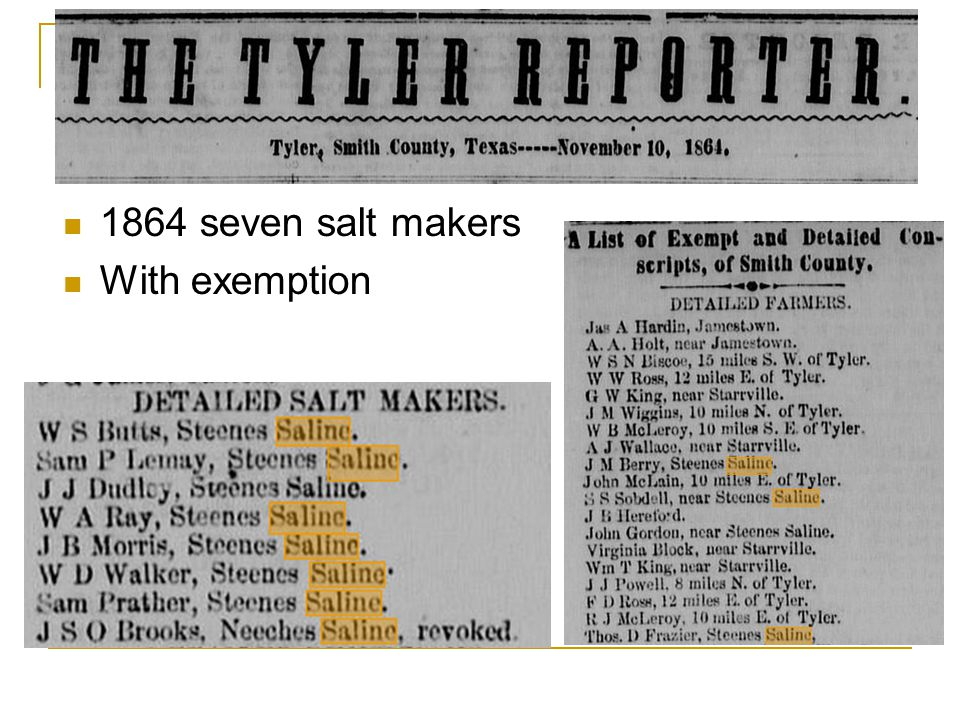 1864 seven salt makers With exemption