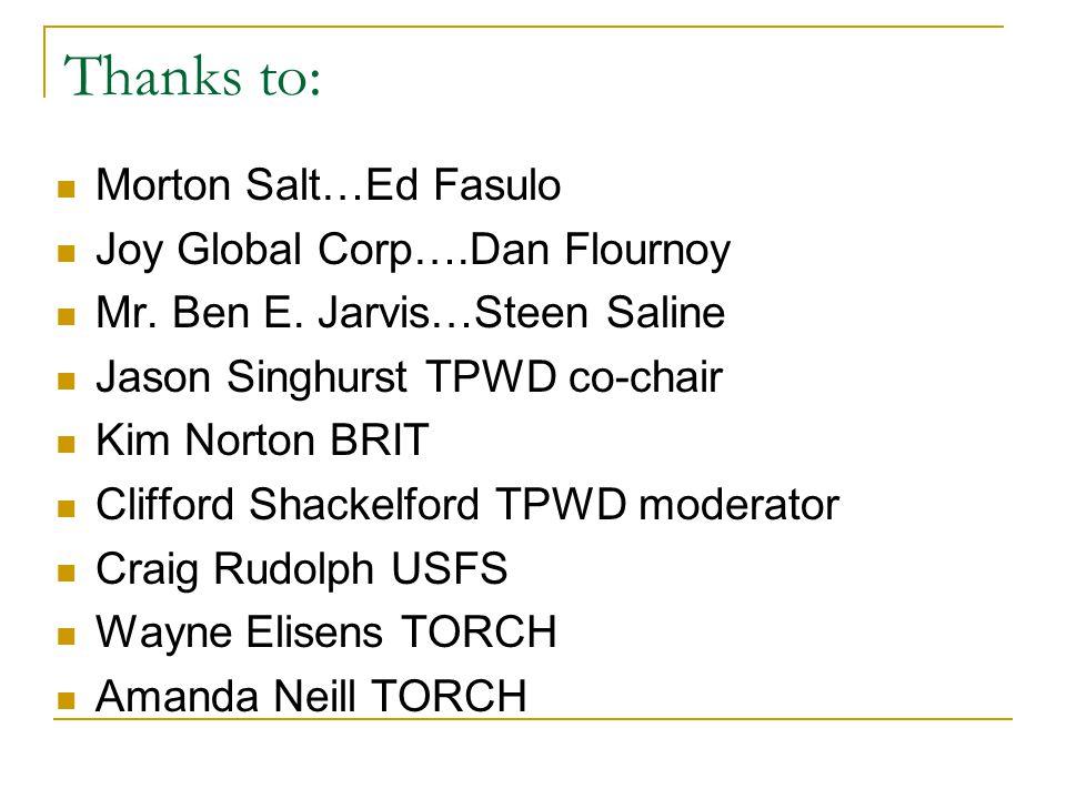 Thanks to: Morton Salt…Ed Fasulo Joy Global Corp….Dan Flournoy Mr.