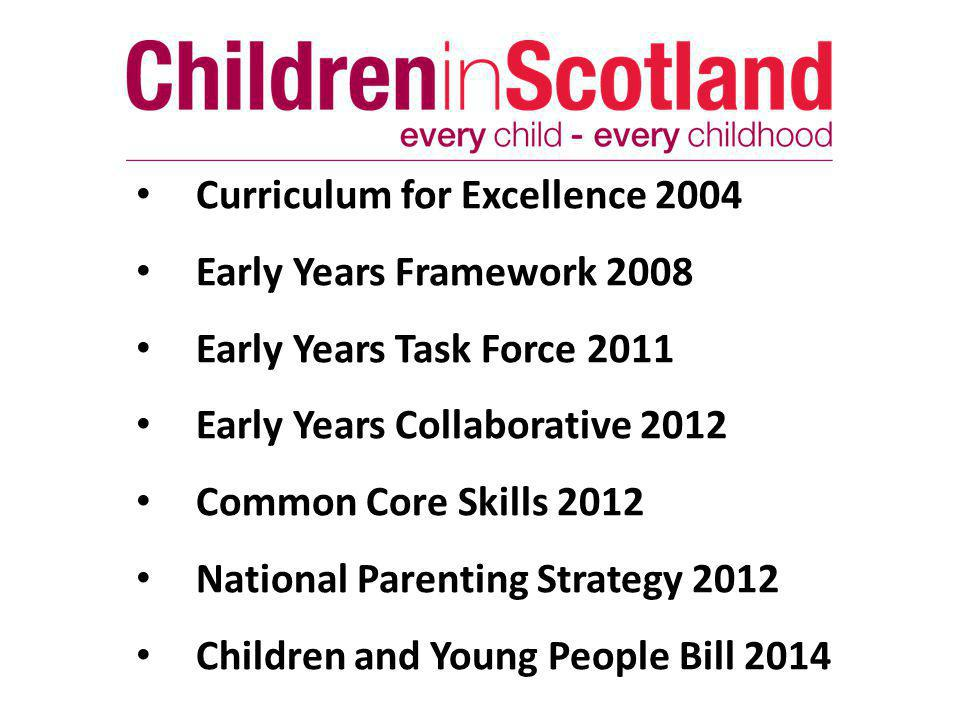 Curriculum for Excellence 2004 Early Years Framework 2008 Early Years Task Force 2011 Early Years Collaborative 2012 Common Core Skills 2012 National Parenting Strategy 2012 Children and Young People Bill 2014