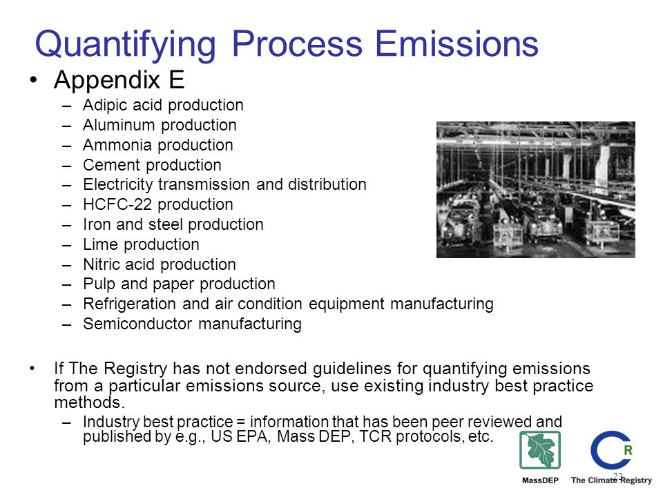 23 Quantifying Process Emissions Appendix E –Adipic acid production –Aluminum production –Ammonia production –Cement production –Electricity transmission and distribution –HCFC-22 production –Iron and steel production –Lime production –Nitric acid production –Pulp and paper production –Refrigeration and air condition equipment manufacturing –Semiconductor manufacturing If The Registry has not endorsed guidelines for quantifying emissions from a particular emissions source, use existing industry best practice methods.