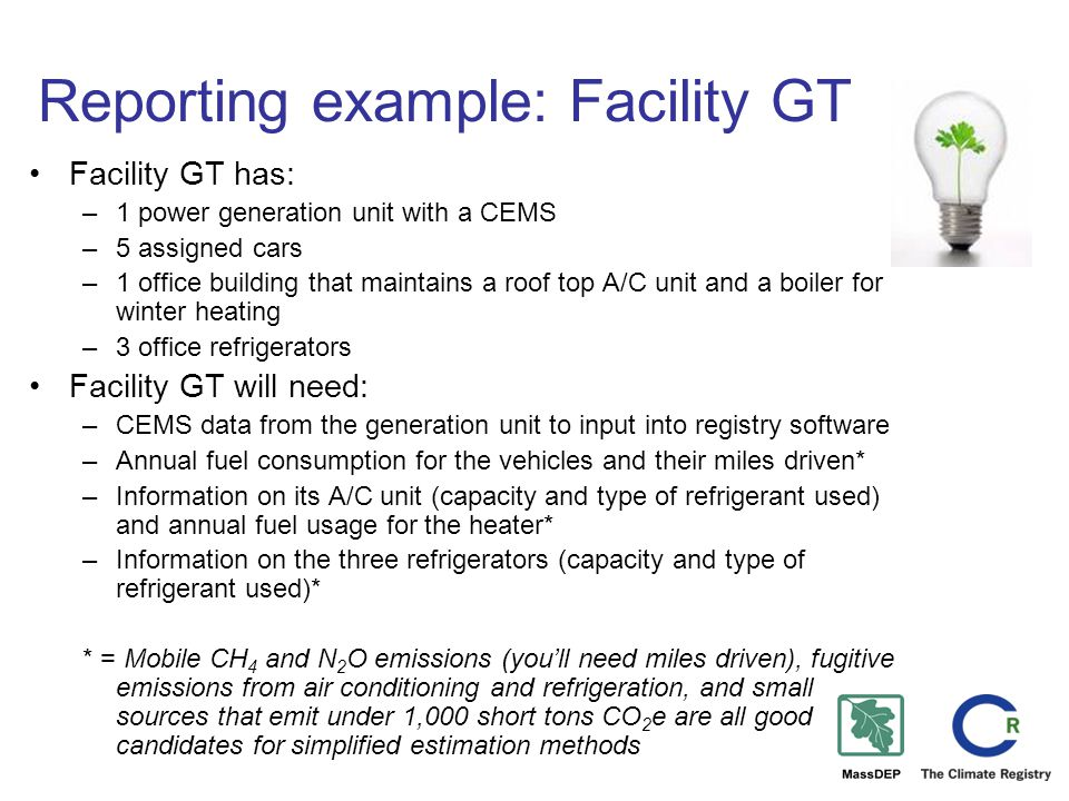 Reporting example: Facility GT Facility GT has: –1 power generation unit with a CEMS –5 assigned cars –1 office building that maintains a roof top A/C unit and a boiler for winter heating –3 office refrigerators Facility GT will need: –CEMS data from the generation unit to input into registry software –Annual fuel consumption for the vehicles and their miles driven* –Information on its A/C unit (capacity and type of refrigerant used) and annual fuel usage for the heater* –Information on the three refrigerators (capacity and type of refrigerant used)* * = Mobile CH 4 and N 2 O emissions (you'll need miles driven), fugitive emissions from air conditioning and refrigeration, and small sources that emit under 1,000 short tons CO 2 e are all good candidates for simplified estimation methods