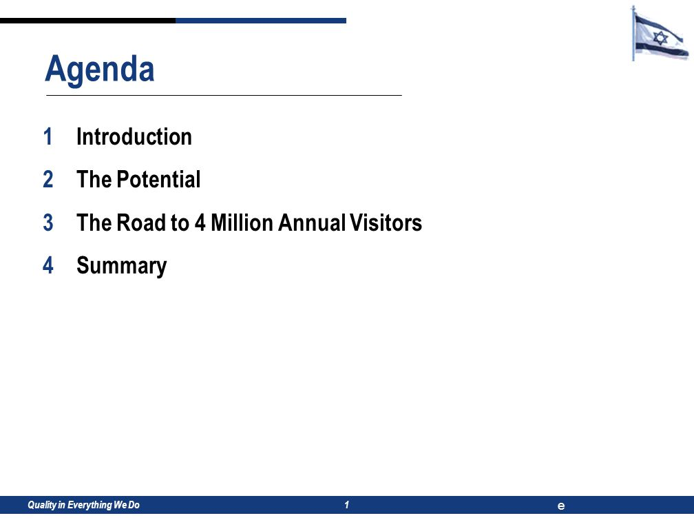 e 1 1Introduction 2The Potential 3The Road to 4 Million Annual Visitors 4Summary Agenda