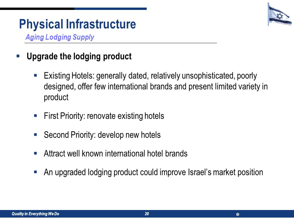 Quality in Everything We Do e 20 Aging Lodging Supply  Upgrade the lodging product  Existing Hotels: generally dated, relatively unsophisticated, poorly designed, offer few international brands and present limited variety in product  First Priority: renovate existing hotels  Second Priority: develop new hotels  Attract well known international hotel brands  An upgraded lodging product could improve Israel's market position Physical Infrastructure
