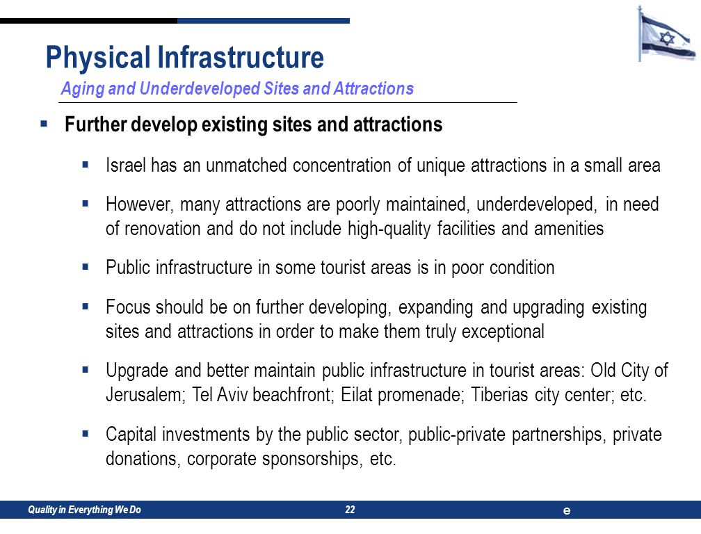 Quality in Everything We Do e 22 Aging and Underdeveloped Sites and Attractions  Further develop existing sites and attractions  Israel has an unmatched concentration of unique attractions in a small area  However, many attractions are poorly maintained, underdeveloped, in need of renovation and do not include high-quality facilities and amenities  Public infrastructure in some tourist areas is in poor condition  Focus should be on further developing, expanding and upgrading existing sites and attractions in order to make them truly exceptional  Upgrade and better maintain public infrastructure in tourist areas: Old City of Jerusalem; Tel Aviv beachfront; Eilat promenade; Tiberias city center; etc.