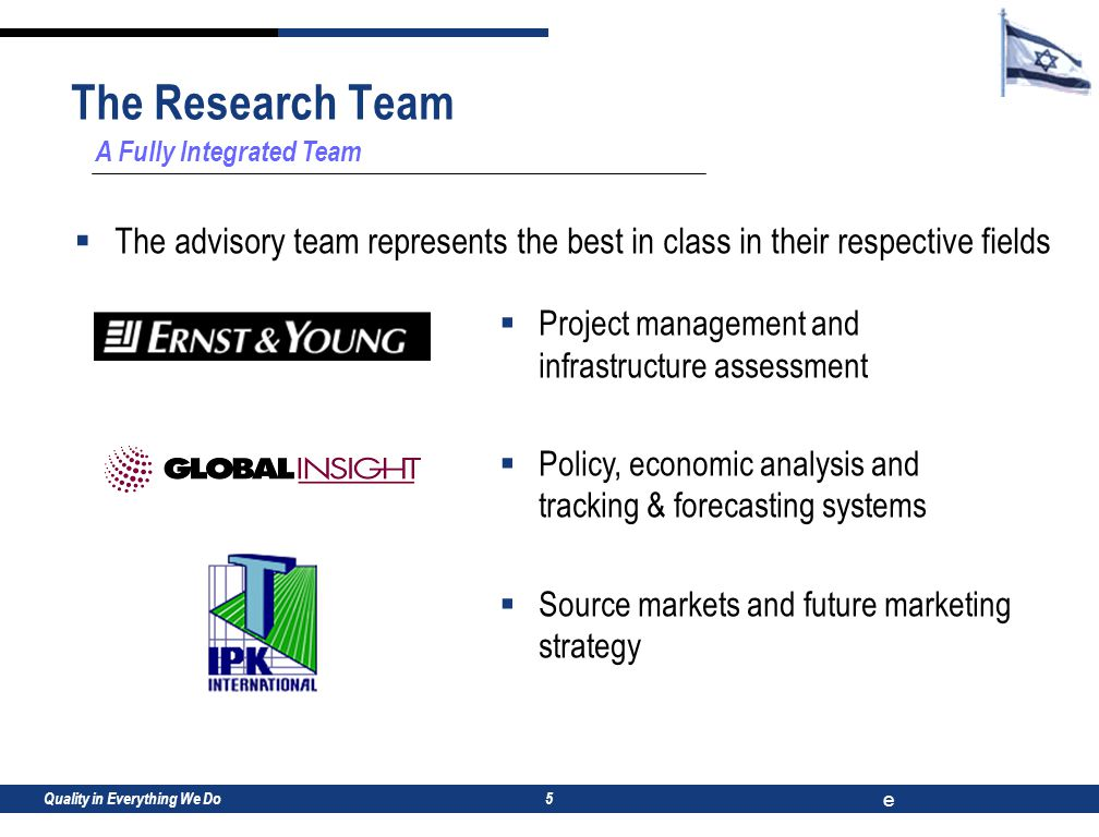 Quality in Everything We Do e 5 A Fully Integrated Team  The advisory team represents the best in class in their respective fields  Project management and infrastructure assessment  Policy, economic analysis and tracking & forecasting systems  Source markets and future marketing strategy The Research Team