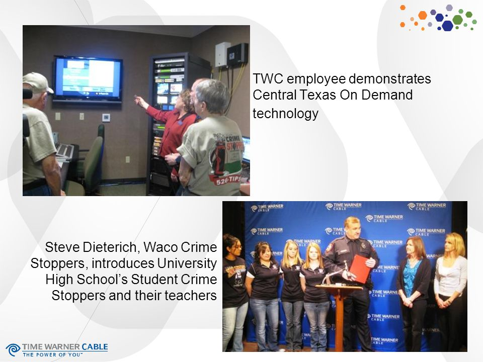 TWC employee demonstrates Central Texas On Demand technology Steve Dieterich, Waco Crime Stoppers, introduces University High School's Student Crime Stoppers and their teachers