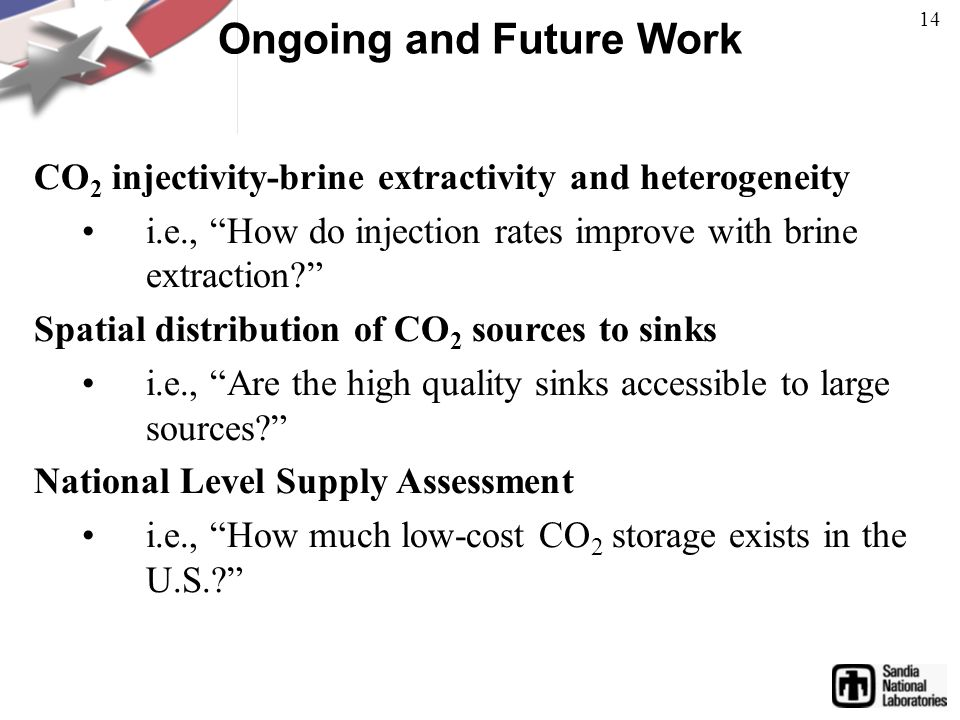 Ongoing and Future Work CO 2 injectivity-brine extractivity and heterogeneity i.e., How do injection rates improve with brine extraction Spatial distribution of CO 2 sources to sinks i.e., Are the high quality sinks accessible to large sources National Level Supply Assessment i.e., How much low-cost CO 2 storage exists in the U.S. 14