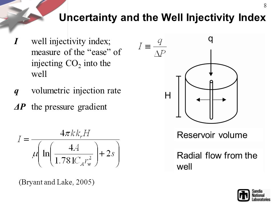 Uncertainty and the Well Injectivity Index I well injectivity index; measure of the ease of injecting CO 2 into the well q volumetric injection rate ΔPthe pressure gradient Reservoir volume Radial flow from the well (Bryant and Lake, 2005) 8