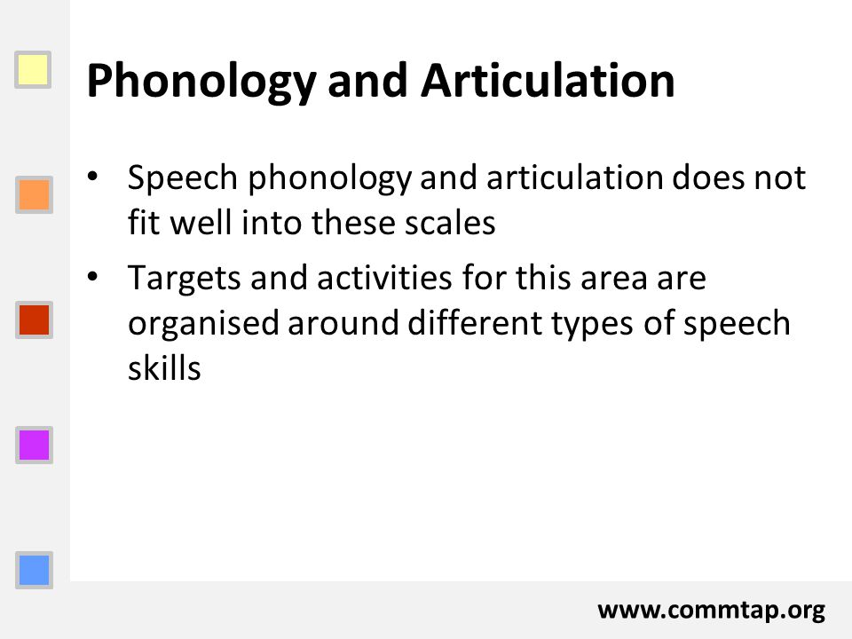 www.commtap.org Phonology and Articulation Speech phonology and articulation does not fit well into these scales Targets and activities for this area