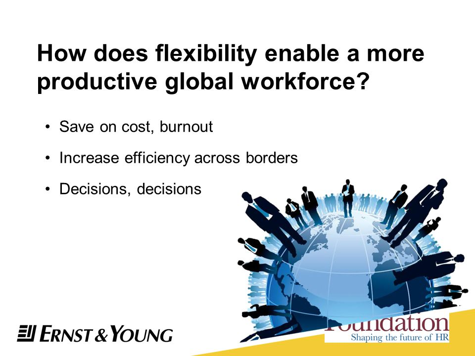 How does flexibility enable a more productive global workforce? Save on cost, burnout Increase efficiency across borders Decisions, decisions