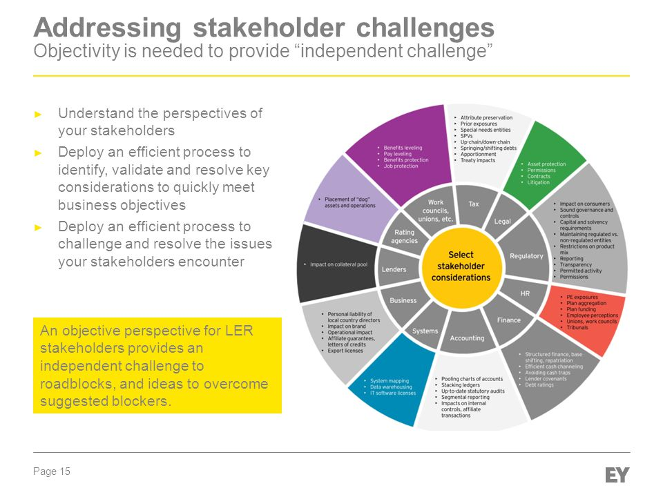Page 15 Addressing stakeholder challenges Objectivity is needed to provide independent challenge ► Understand the perspectives of your stakeholders ► Deploy an efficient process to identify, validate and resolve key considerations to quickly meet business objectives ► Deploy an efficient process to challenge and resolve the issues your stakeholders encounter An objective perspective for LER stakeholders provides an independent challenge to roadblocks, and ideas to overcome suggested blockers.