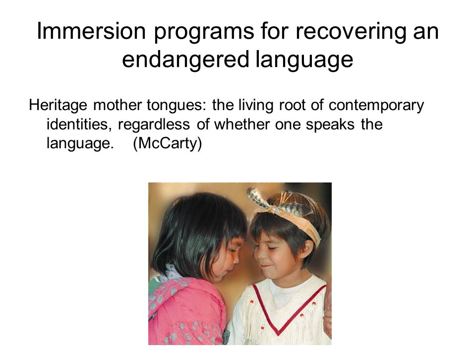 Immersion programs for recovering an endangered language Heritage mother tongues: the living root of contemporary identities, regardless of whether on