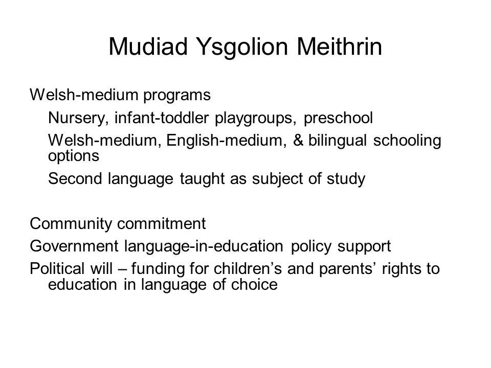 Mudiad Ysgolion Meithrin Welsh-medium programs Nursery, infant-toddler playgroups, preschool Welsh-medium, English-medium, & bilingual schooling optio