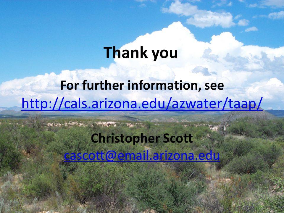 15 For further information, see http://cals.arizona.edu/azwater/taap/ Christopher Scott cascott@email.arizona.edu http://cals.arizona.edu/azwater/taap/ cascott@email.arizona.edu Thank you