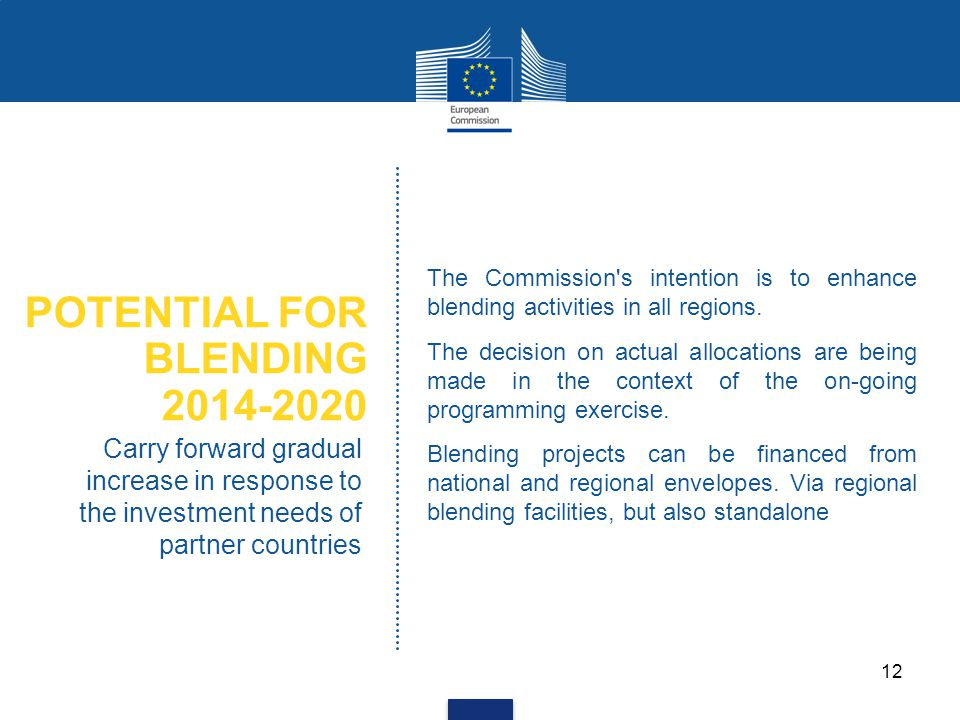 POTENTIAL FOR BLENDING 2014-2020 Carry forward gradual increase in response to the investment needs of partner countries The Commission's intention is
