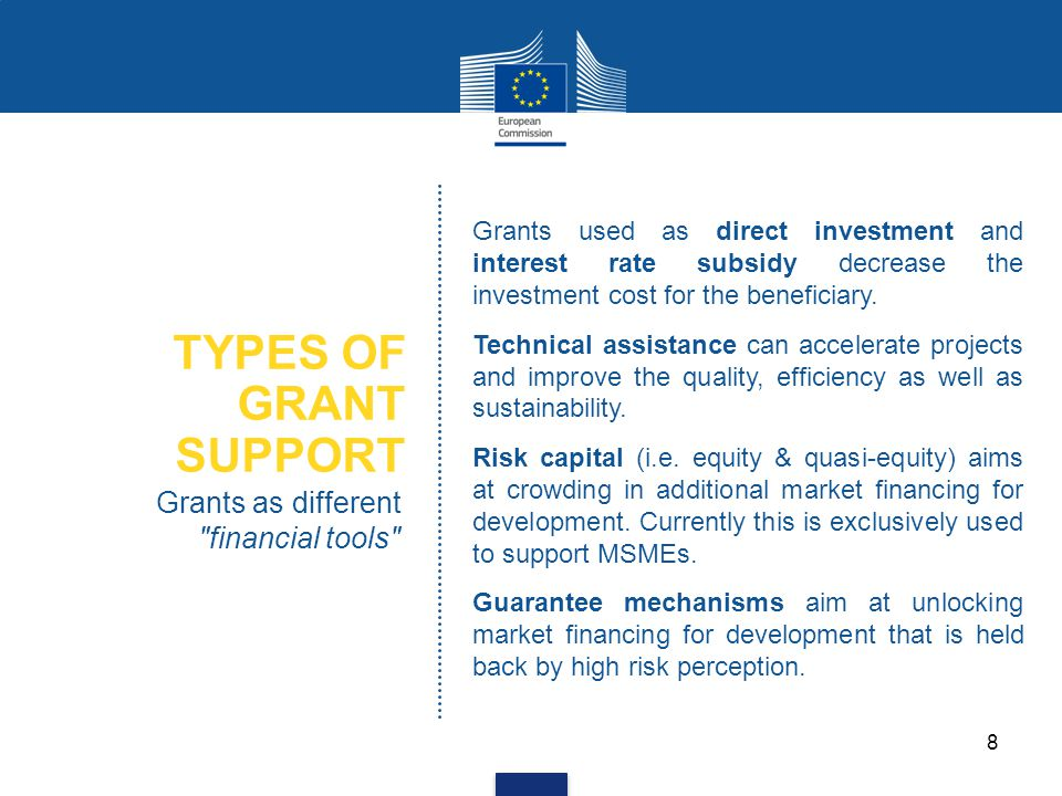 TYPES OF GRANT SUPPORT Grants as different