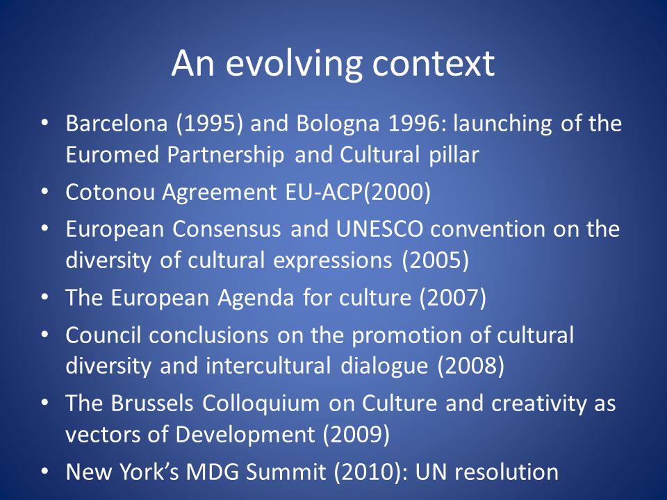 An evolving context Barcelona (1995) and Bologna 1996: launching of the Euromed Partnership and Cultural pillar Cotonou Agreement EU-ACP(2000) Europea