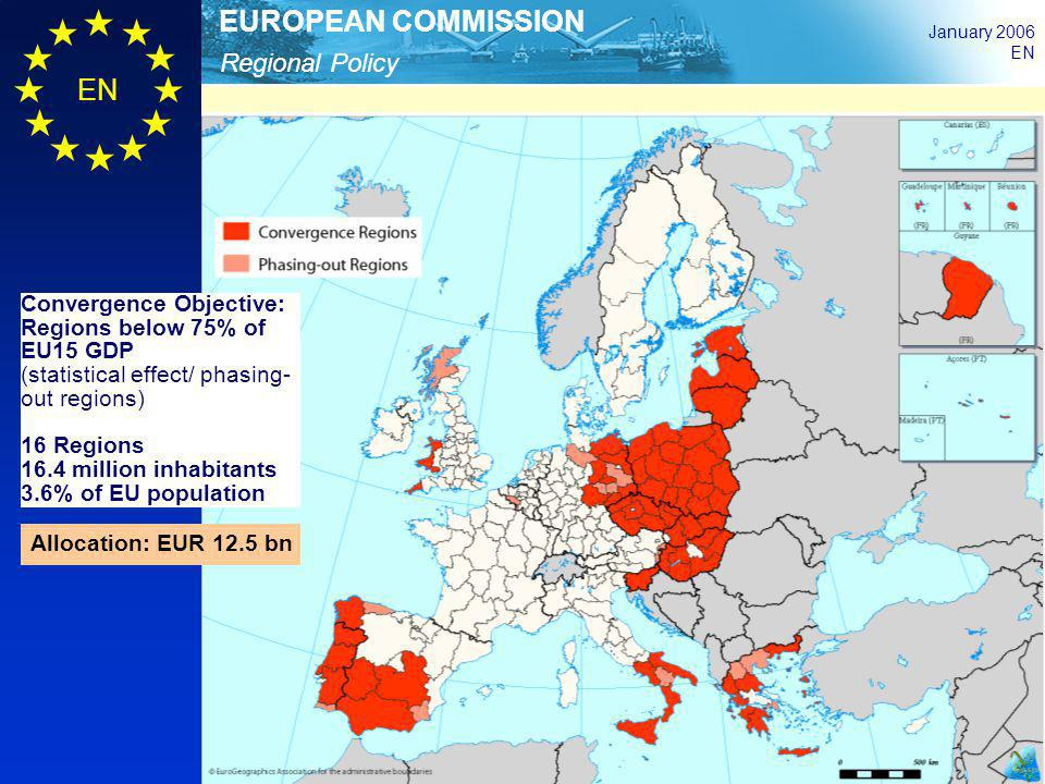 Regional Policy EUROPEAN COMMISSION January 2006 EN Convergence Objective: Regions below 75% of EU15 GDP (statistical effect/ phasing- out regions) 16