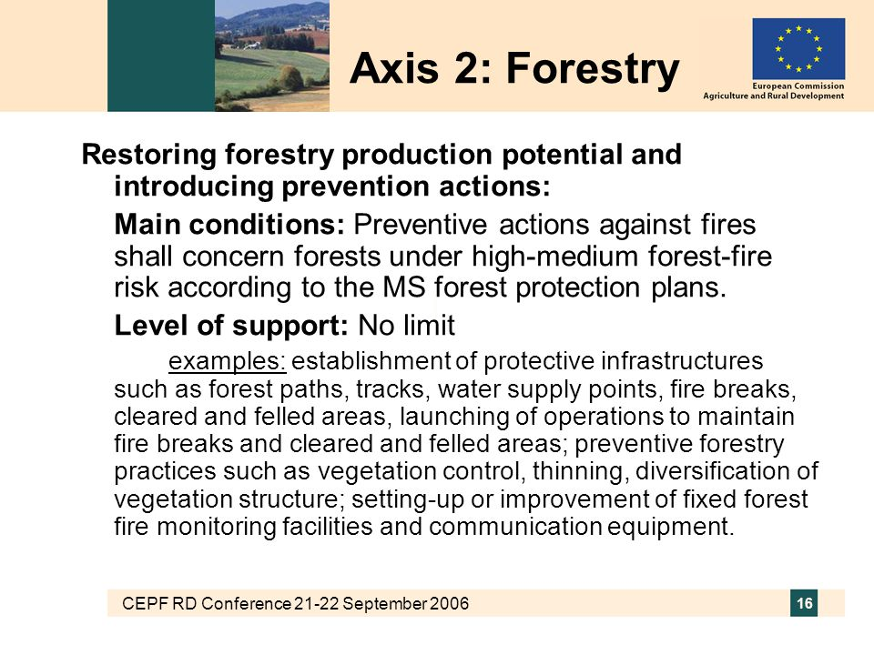 CEPF RD Conference 21-22 September 2006 16 Restoring forestry production potential and introducing prevention actions: Main conditions: Preventive act