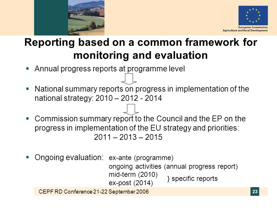 CEPF RD Conference 21-22 September 2006 23 Reporting based on a common framework for monitoring and evaluation  Annual progress reports at programme