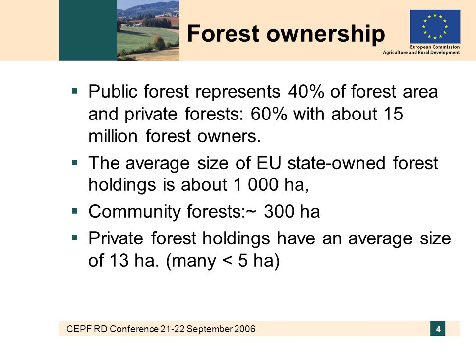 CEPF RD Conference 21-22 September 2006 4  Public forest represents 40% of forest area and private forests: 60% with about 15 million forest owners.
