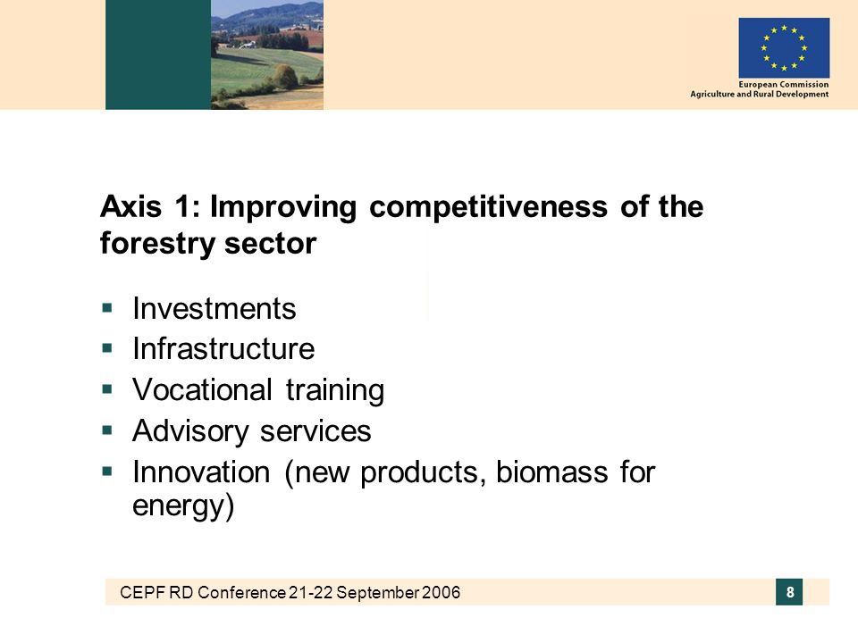 CEPF RD Conference 21-22 September 2006 9 Axis 1: Forestry measures Measures aimed at improving human potential through: Vocational training and information actions for persons engaged in the agricultural and forestry sectors Not normal education Use by farmers and forest holders of advisory services To improve performance Level of support: 80% of the cost up to 1,500€ per advisory service Setting up of farm management, farm relief and farm advisory services, as well as of forestry advisory services Main conditions: enlarged to include forestry advisory services Level of support: No limit, but digressive over max.