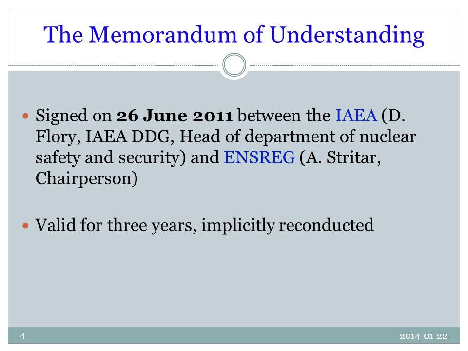 2014-01-22 4 The Memorandum of Understanding Signed on 26 June 2011 between the IAEA (D.