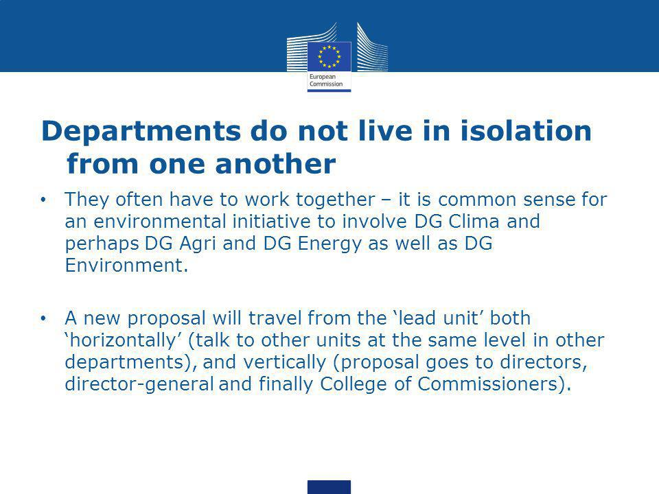 Departments do not live in isolation from one another They often have to work together – it is common sense for an environmental initiative to involve DG Clima and perhaps DG Agri and DG Energy as well as DG Environment.