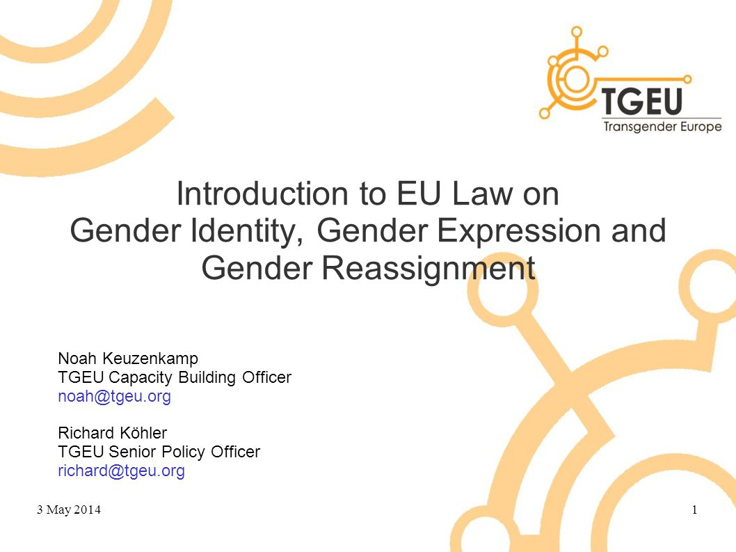 Overview A few general points on EU law EU law on gender identity, expression & reassignment Group exercises Implementation of EU law Questions 3 May 20142