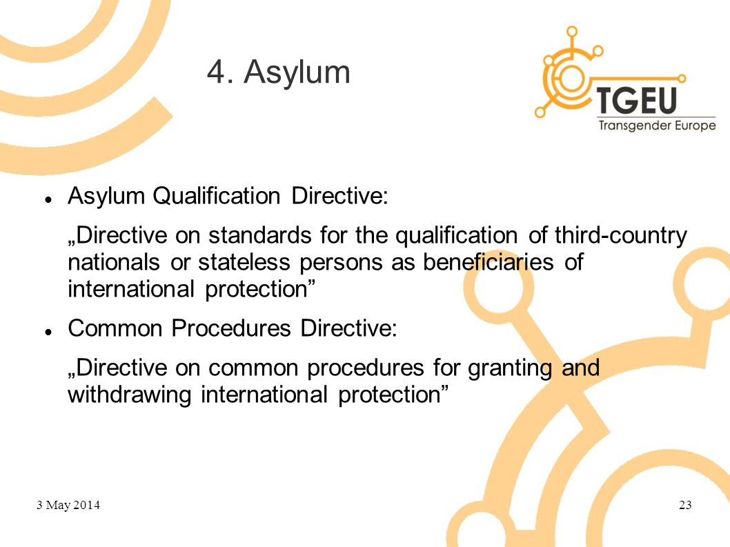 "4. Asylum Asylum Qualification Directive: ""Directive on standards for the qualification of third-country nationals or stateless persons as beneficiari"
