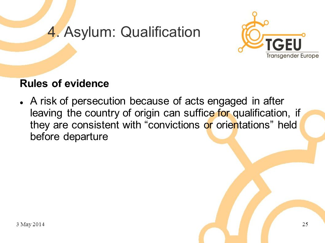 4. Asylum: Qualification Rules of evidence A risk of persecution because of acts engaged in after leaving the country of origin can suffice for qualif