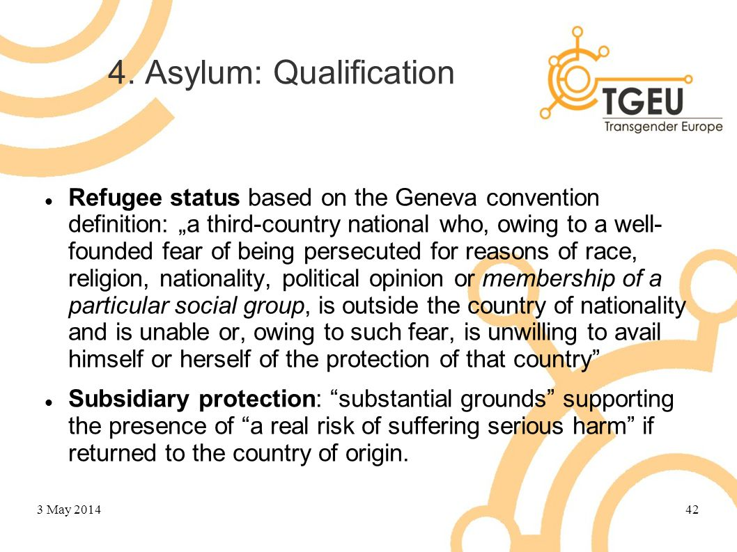 "4. Asylum: Qualification Refugee status based on the Geneva convention definition: ""a third-country national who, owing to a well- founded fear of bei"