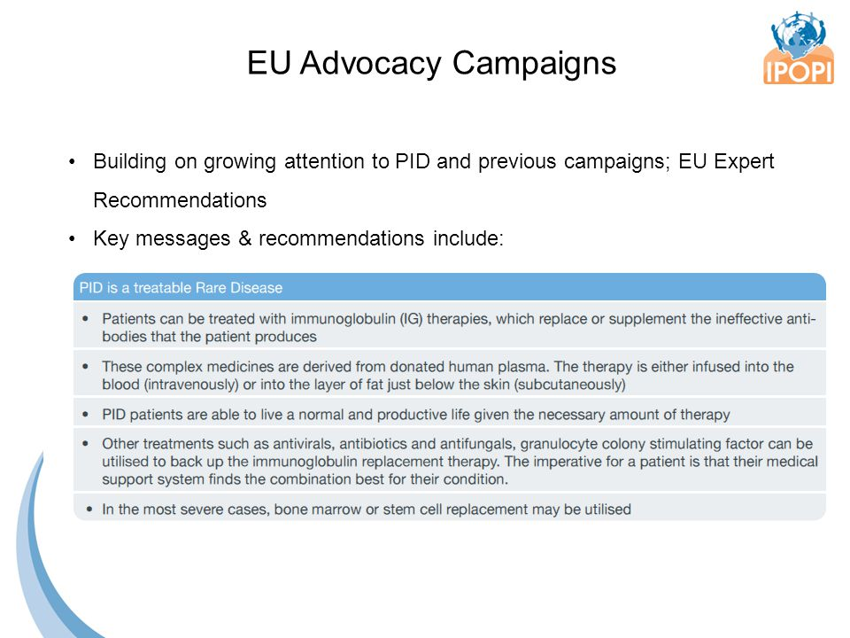 Building on growing attention to PID and previous campaigns; EU Expert Recommendations Key messages & recommendations include: EU Advocacy Campaigns