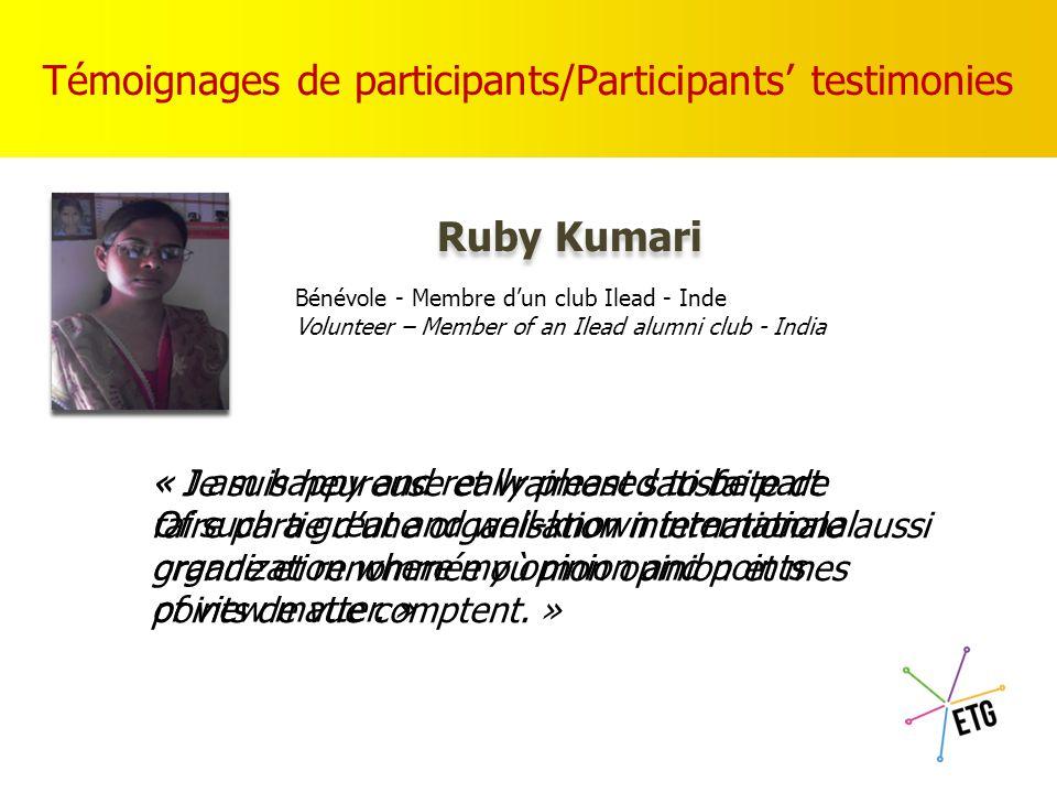 Témoignages de participants / Participants' testimonies