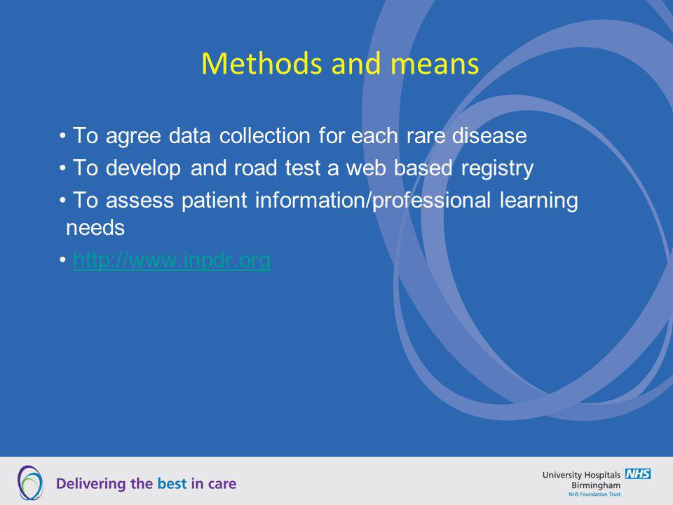 Methods and means To agree data collection for each rare disease To develop and road test a web based registry To assess patient information/professio