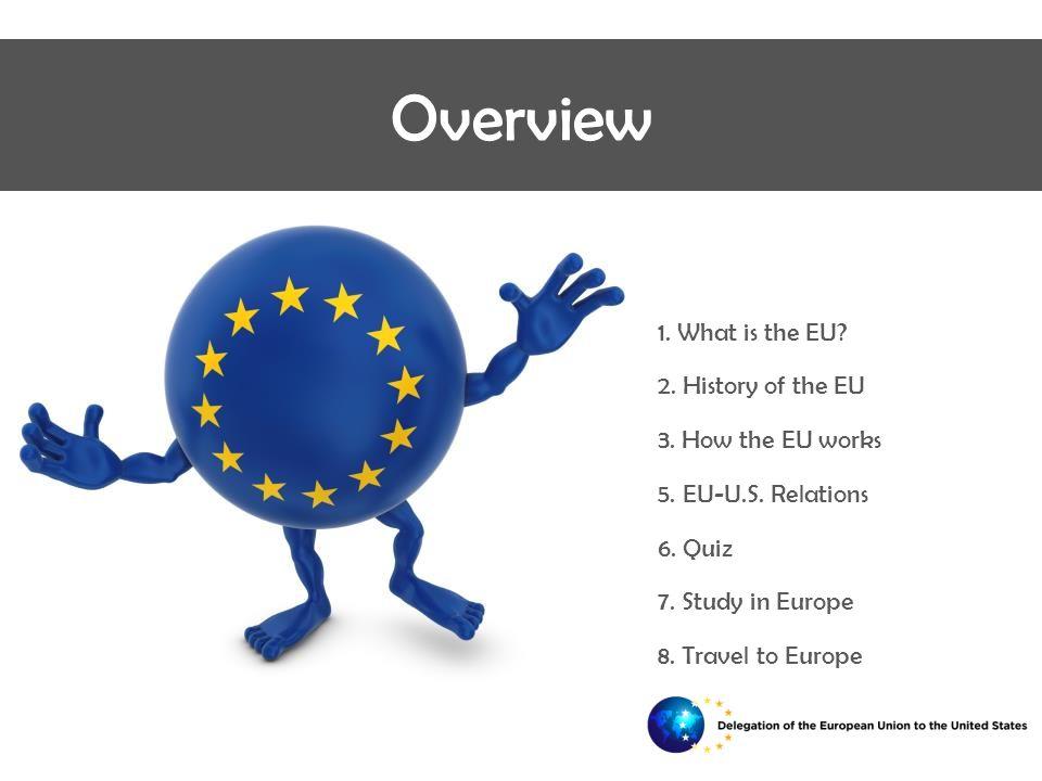  1.What is the EU.  2. History of the EU  3. How the EU works  5.