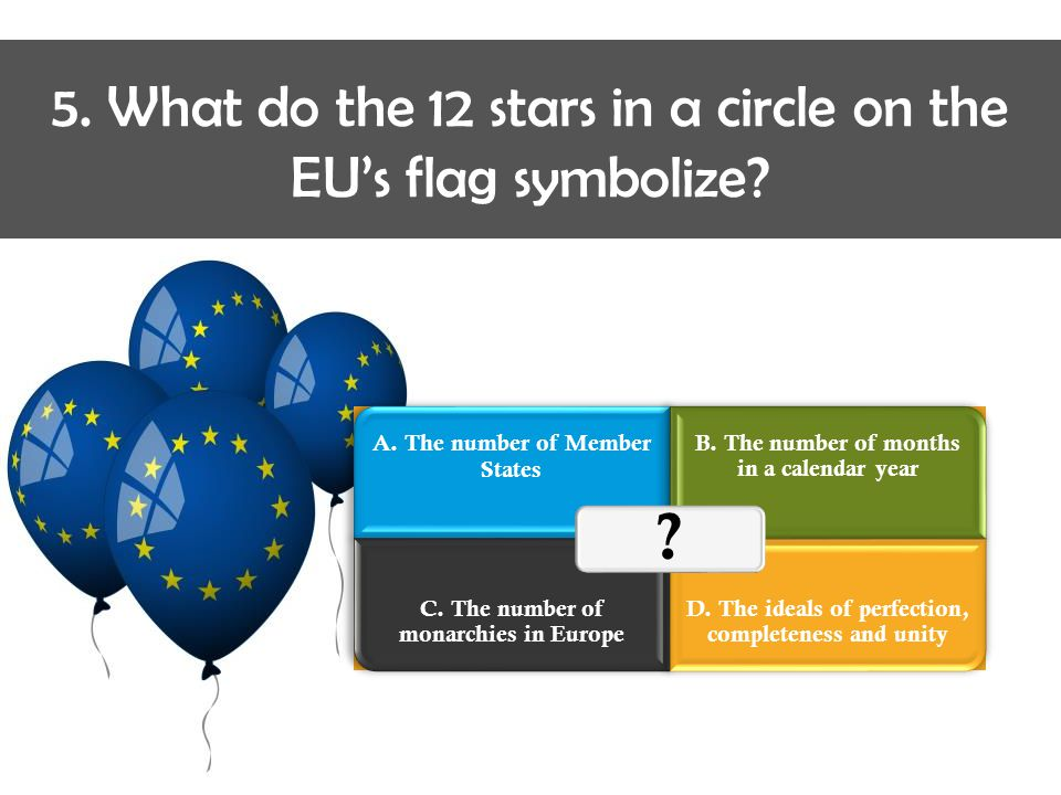 5.What do the 12 stars in a circle on the EU's flag symbolize.