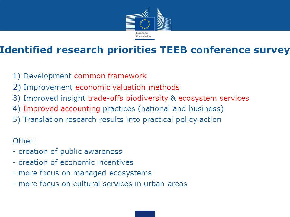 Identified research priorities TEEB conference survey 1) Development common framework 2 ) Improvement economic valuation methods 3) Improved insight t