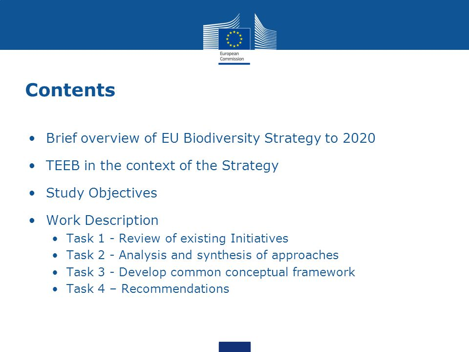 Contents Brief overview of EU Biodiversity Strategy to 2020 TEEB in the context of the Strategy Study Objectives Work Description Task 1 - Review of existing Initiatives Task 2 - Analysis and synthesis of approaches Task 3 - Develop common conceptual framework Task 4 – Recommendations