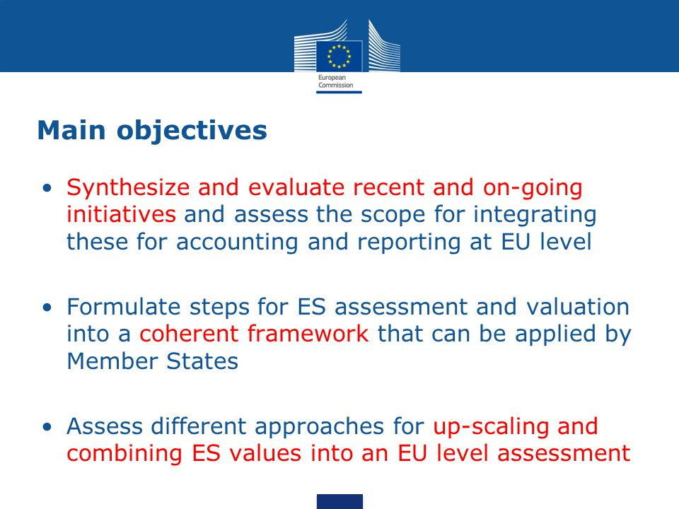 Main objectives Synthesize and evaluate recent and on-going initiatives and assess the scope for integrating these for accounting and reporting at EU