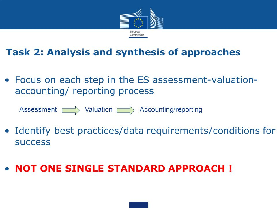 Task 2: Analysis and synthesis of approaches Focus on each step in the ES assessment-valuation- accounting/ reporting process Identify best practices/data requirements/conditions for success NOT ONE SINGLE STANDARD APPROACH .