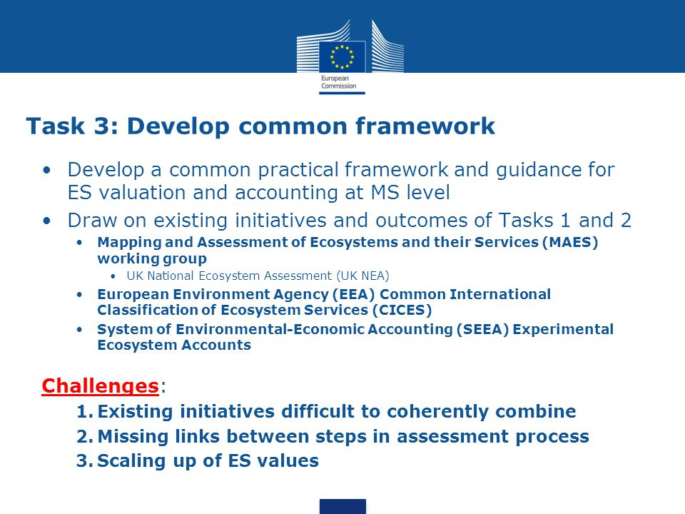 Task 3: Develop common framework Develop a common practical framework and guidance for ES valuation and accounting at MS level Draw on existing initiatives and outcomes of Tasks 1 and 2 Mapping and Assessment of Ecosystems and their Services (MAES) working group UK National Ecosystem Assessment (UK NEA) European Environment Agency (EEA) Common International Classification of Ecosystem Services (CICES) System of Environmental-Economic Accounting (SEEA) Experimental Ecosystem Accounts Challenges: 1.Existing initiatives difficult to coherently combine 2.Missing links between steps in assessment process 3.Scaling up of ES values