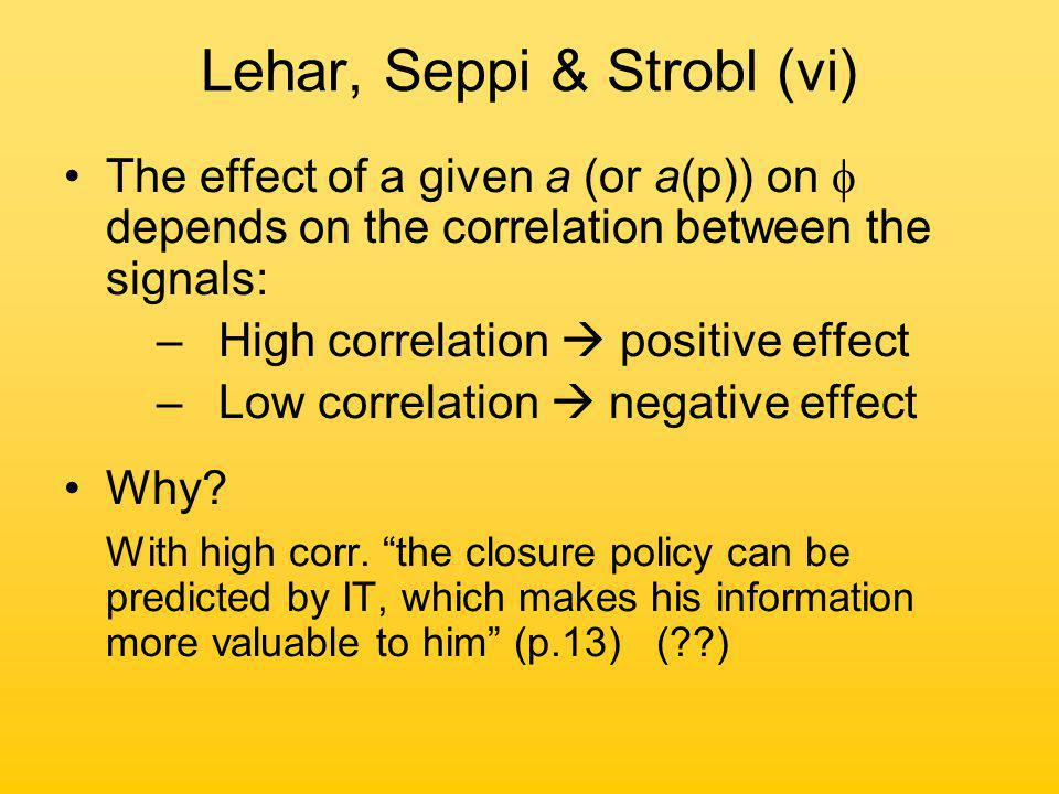 Lehar, Seppi & Strobl (vi) The effect of a given a (or a(p)) on  depends on the correlation between the signals: –High correlation  positive effect –Low correlation  negative effect Why.