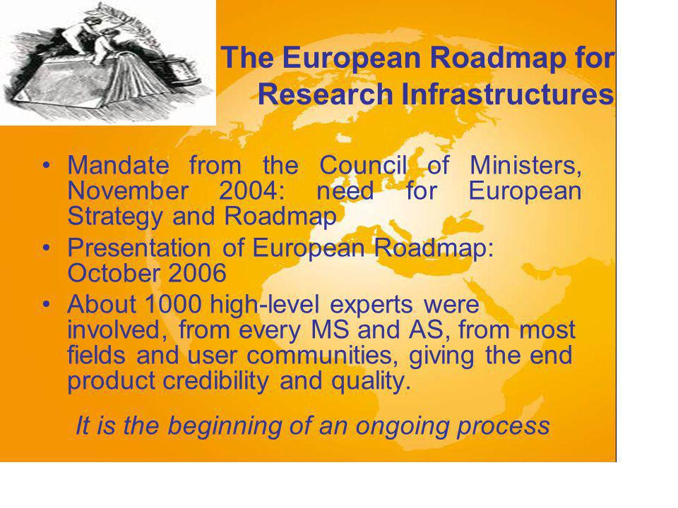 The European Roadmap for Research Infrastructures Mandate from the Council of Ministers, November 2004: need for European Strategy and Roadmap Presentation of European Roadmap: October 2006 About 1000 high-level experts were involved, from every MS and AS, from most fields and user communities, giving the end product credibility and quality.