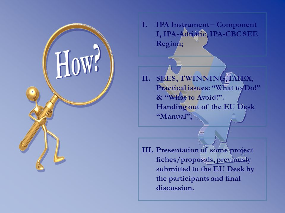 II. II.SEES, TWINNING,TAIEX, Practical issues: What to Do! & What to Avoid! .