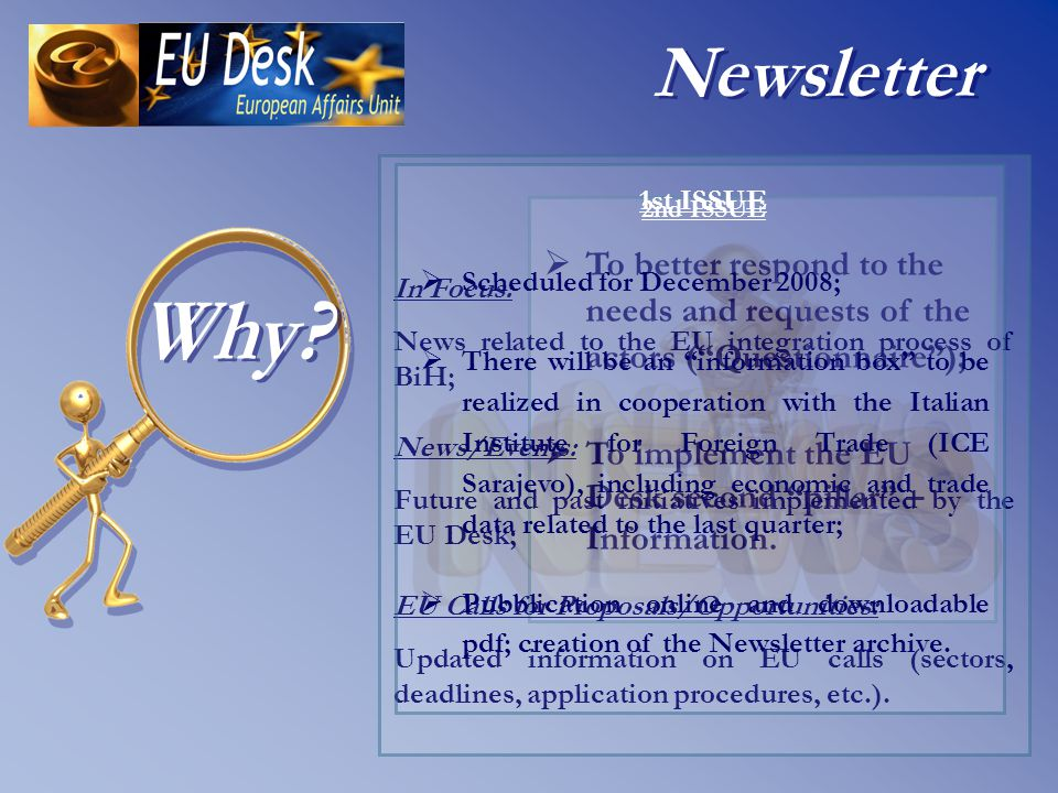   To better respond to the needs and requests of the actors ( Questionnaire );   To implement the EU Desk second pillar – Information.
